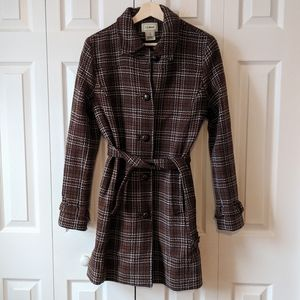 L.L. Bean brown plaid belted wool button coat S